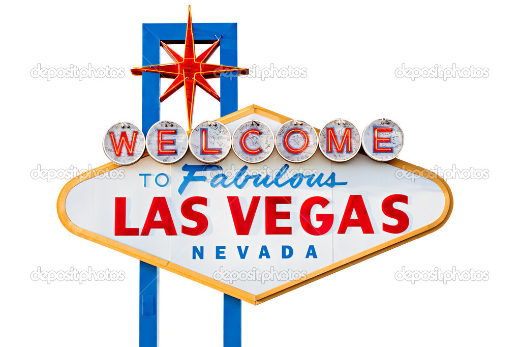Las vegas sign on the city strip - isolated on white — Stock Photo #3885760