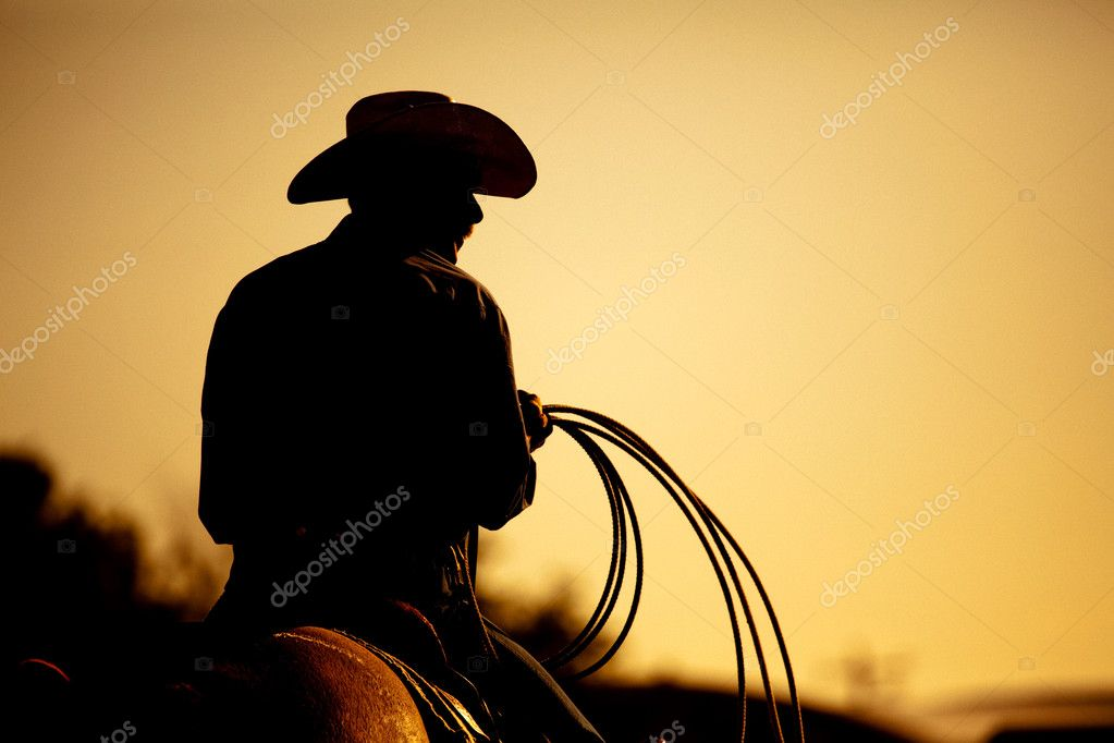 Cowboy with lasso silhouette at small-town rodeo. Note: added grain. — Photo #3885815