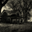Haunted house monochrome - Stock Photo