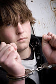 Teen in handcuffs - crime — Foto de Stock