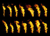 Real flames set of 14 isolated on black — Stock Photo