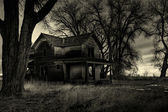 Haunted house monochrome — Stock Photo