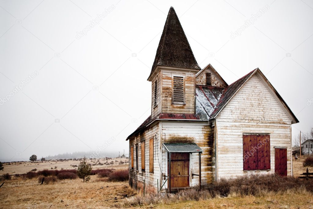 Abandoned rural church in Oregon US  Stock Photo #3892836