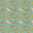 Stock Vector: Birds seamless pattern