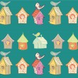 Royalty-Free Stock Vector Image: Starling-houses seamless