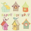 Stock Vector: Starling-houses. birthday card