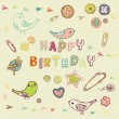 Stock Vector: Birthday card with birds
