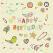 Birthday card with birds — Stock Vector #3878972