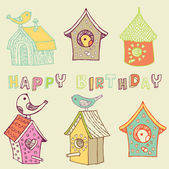 Starling-houses. birthday card — Stock Vector