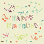 Birthday card with birds — Stock Vector