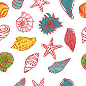 Sea shells seamless pattern — Stock Vector