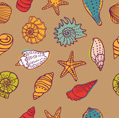 Sea shells seamless pattern — ストックベクタ