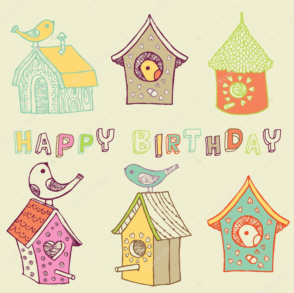 Starling-houses. birthday card   Stock Vector #3878950