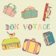 Suitcases with a bird - Imagen vectorial