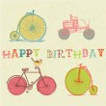 Birthday card. retro bicycle — Stock Vector