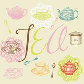 Tea time set — Stock Vector