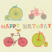 Birthday card. retro bicycle — Stock Vector