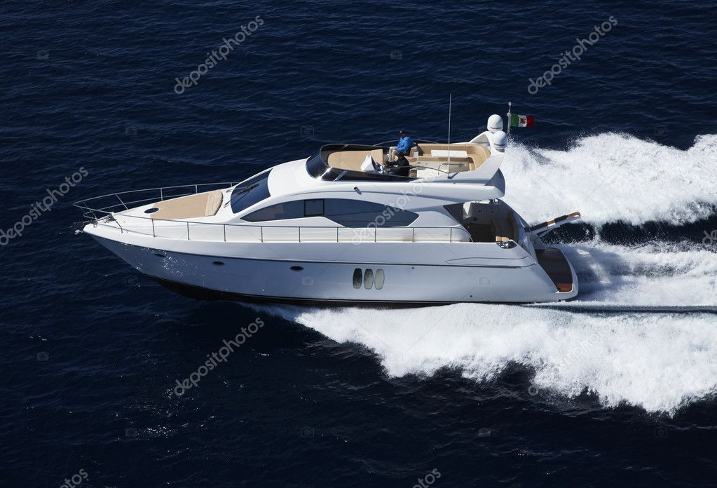 Italy, Sicily, Panarea Island, luxury yacht, aerial view, Abacus 52', Abacus boatyard — Stock Photo #3922505