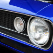 Blue Muscle Car Headlights and Hood — Stock Photo #3910037