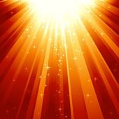 Magic stars descending on beams of light — Stock Vector
