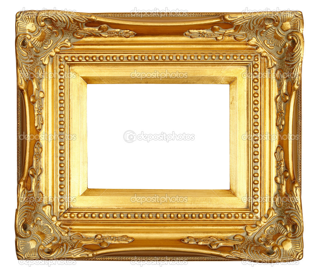 an antique gold frame over white background photo by macniak