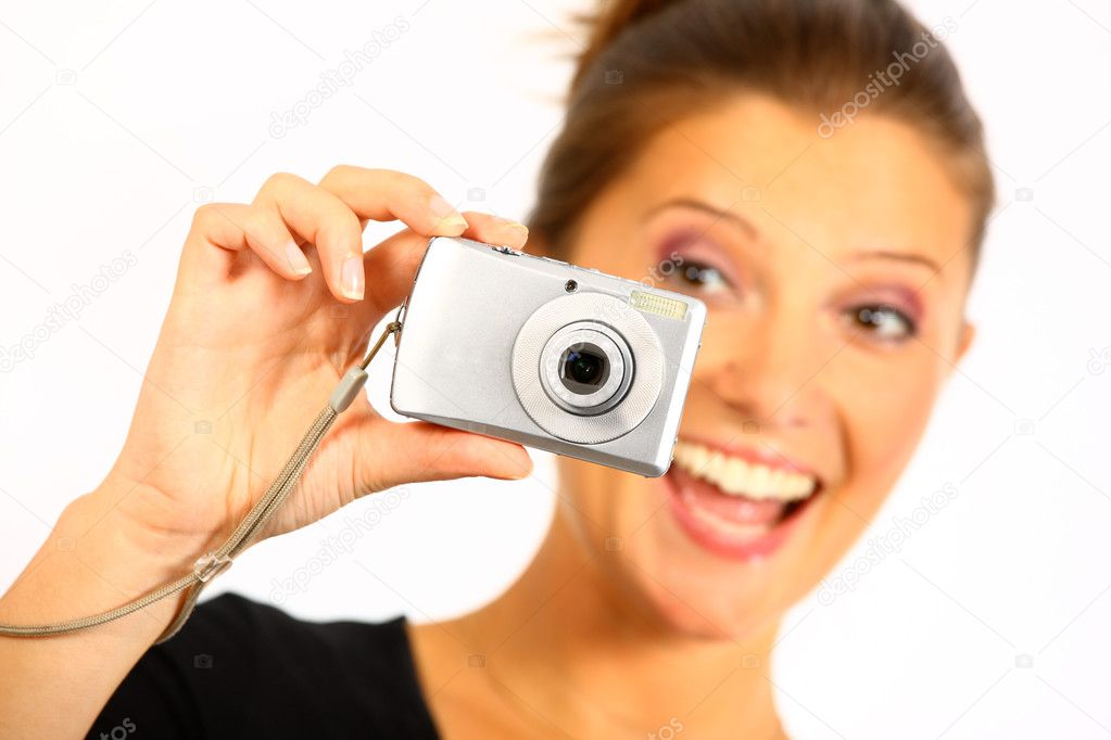 Nice happy young women is taking pictures — Stock Photo #3894099