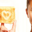 Girl and toast — Stock Photo