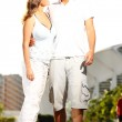 Young couple on a walk in the park — Stock Photo