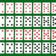 Poker playing cards, full deck — Stockvectorbeeld