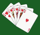 Royal flush hearts — Stock Vector