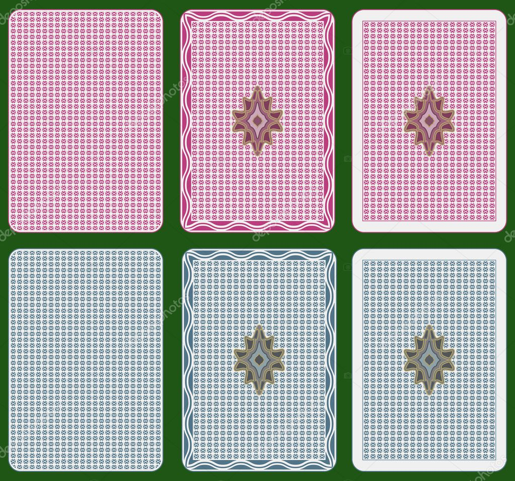 Playing cards back abstract design, two colours, three different arrangements — Vettoriali Stock  #3902310