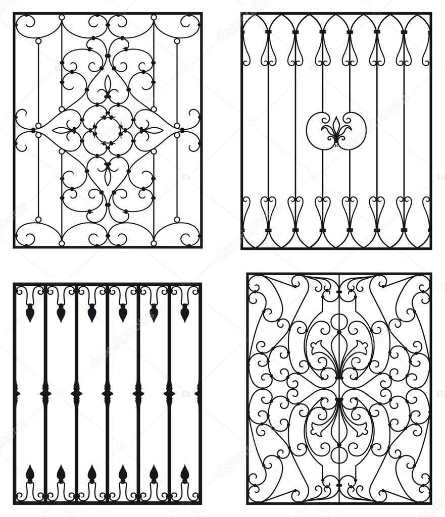 Wrought iron modules, usable as railings, fences, etc... — Stock Vector #3902570