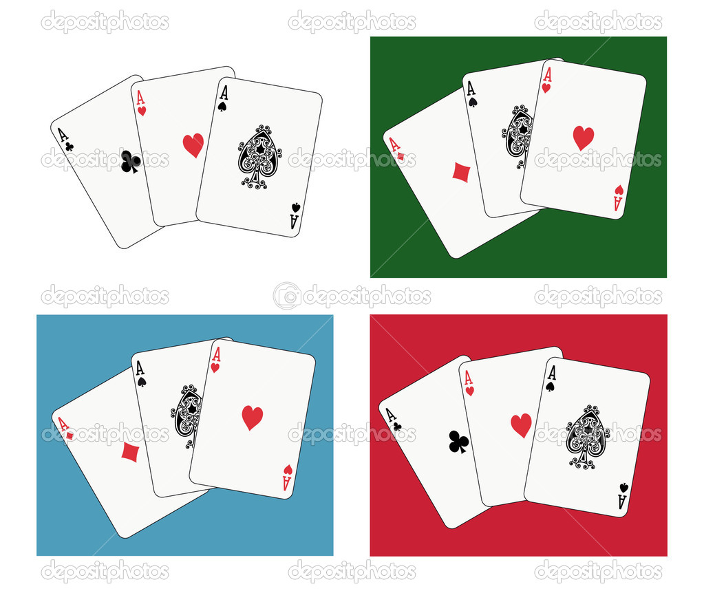 Playing cards: aces tris, four different arrangements — Stock Vector #3902859