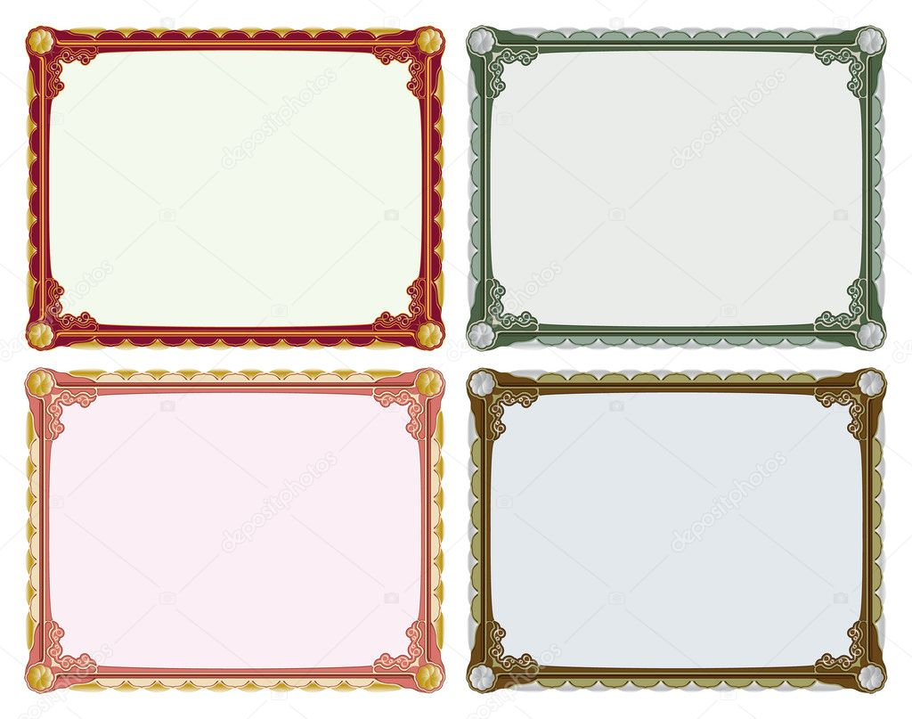 Elegant retro frame, four colour arrangements  Stock Vector #3902933
