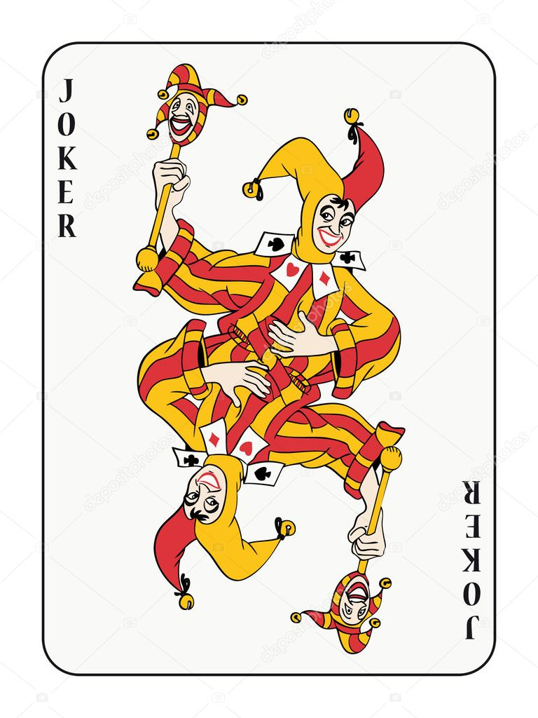 Symmetric joker playing card with red and golden costume — Imagen vectorial #3903305