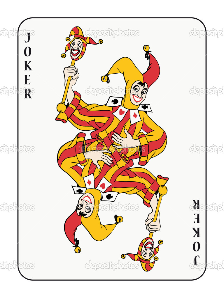 Symmetric joker playing card with red and golden costume — Grafika wektorowa #3903305