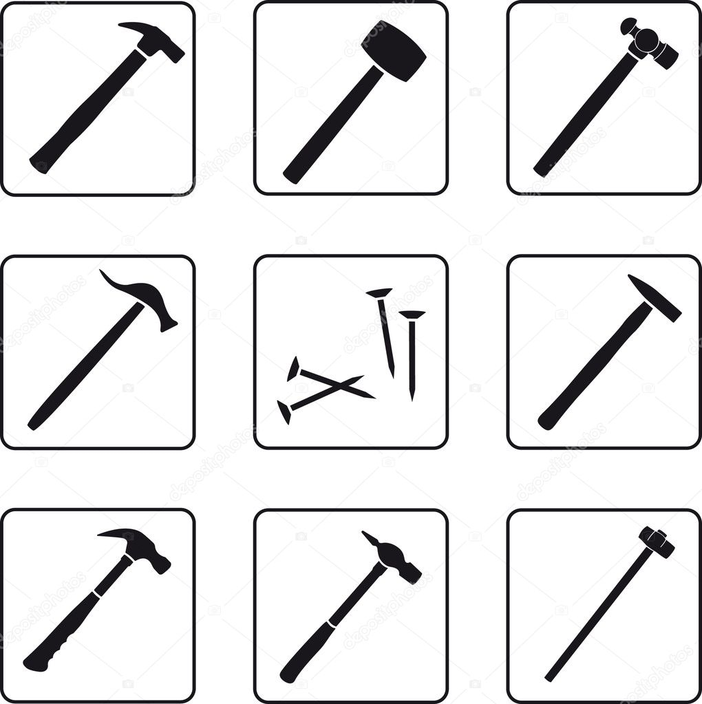 Eight different hammers black silhouettes — Stock Vector #3903310