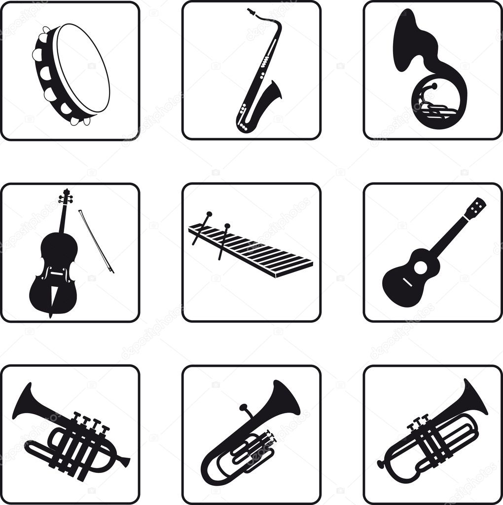Musical instruments black silhouettes in a nine square grid — Stock Vector #3903325
