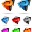 3d Abstract Icon Series - Set 7 — Stock Vector