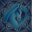 Blue mosaic unicorn - Stock Vector