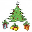 Christmas Tree cartoon - Stock Vector