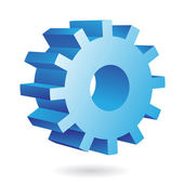 3d blue cog — Stock Vector