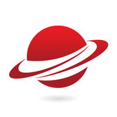 Red cartoon planet — Stock Vector