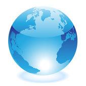 Glossy blue world — Stock Vector