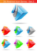 3d Abstract Icon Series - Set 2 — Stok Vektör