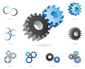 2d and 3d cogs — Stock Vector
