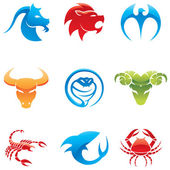 Glossy animal icons — Stock Vector