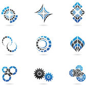 Blue cog icons (set of 9) — Stock Vector