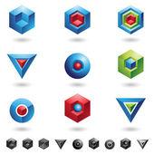 キューブ、三角形、球 — ストックベクタ