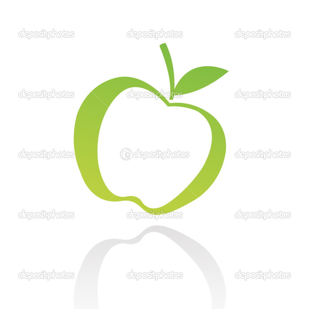 Green line art apple isolated on white — ベクター素材ストック #3881967